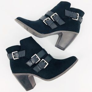 NEW Mossimo Black Faux Suede 3 Buckle Booties 8